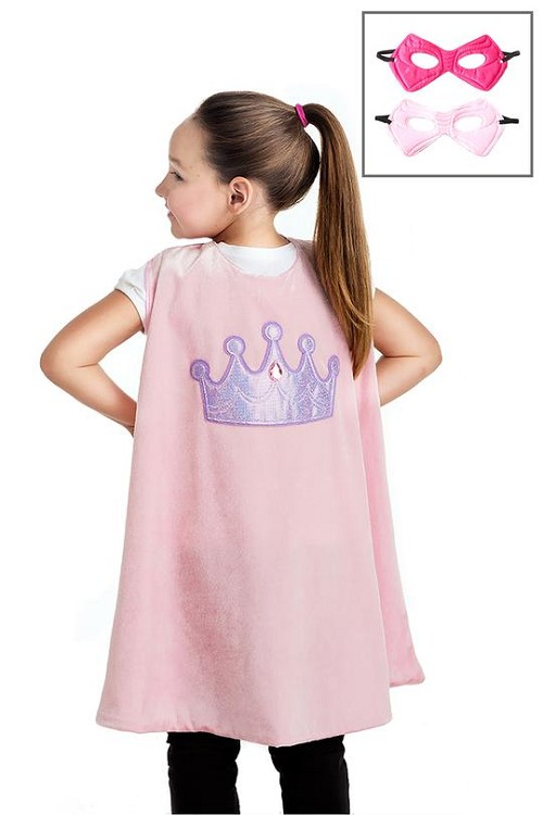 PRE-ORDER Little Adventures Pink Crown Cape and Mask Set $20.00